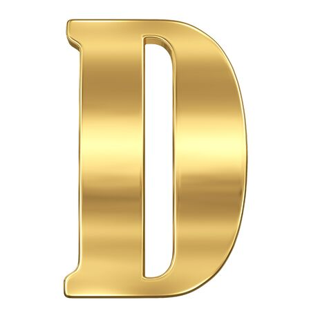 gold standard: Letter D from gold solid alphabet.