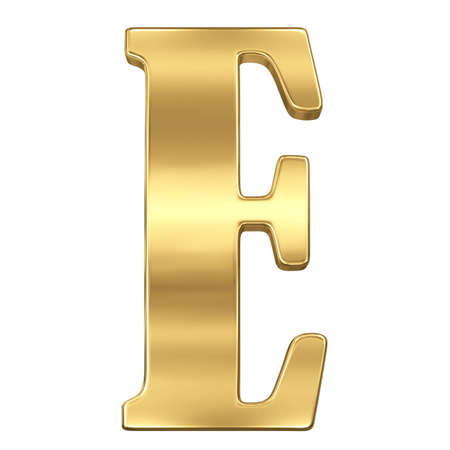 gold standard: Letter E from gold solid alphabet.