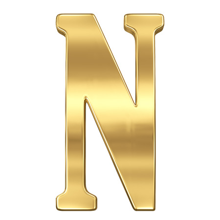 gold standard: Letter N from gold solid alphabet.