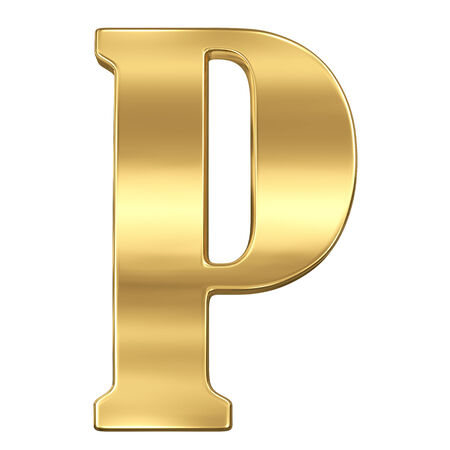 Letter P from gold solid alphabet.