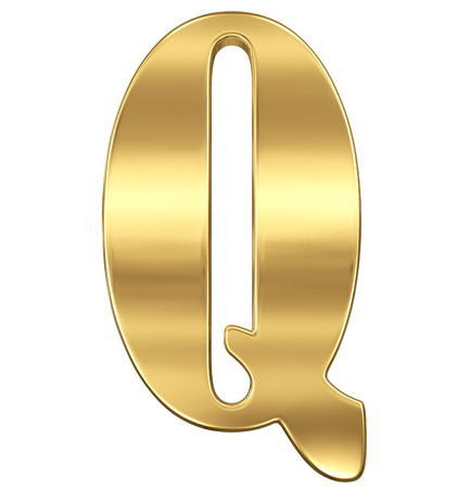 goldbars: Letter Q from gold solid alphabet.