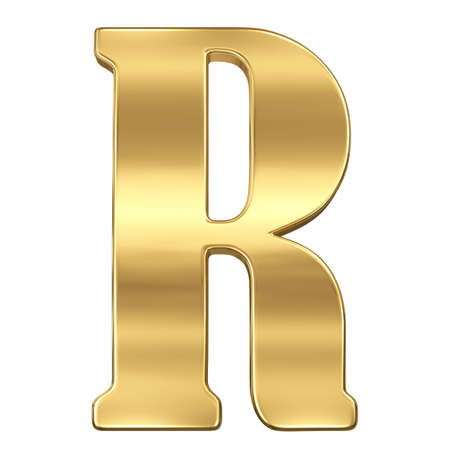 goldbars: Letter R from gold solid alphabet. Stock Photo