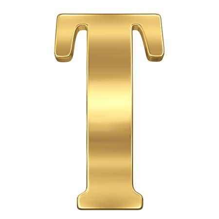 Letter T from gold solid alphabet.