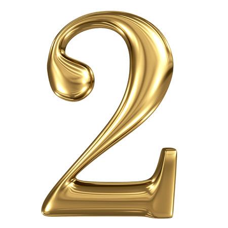 Golden shining metallic 3D symbol figure 2 isolated on white Standard-Bild