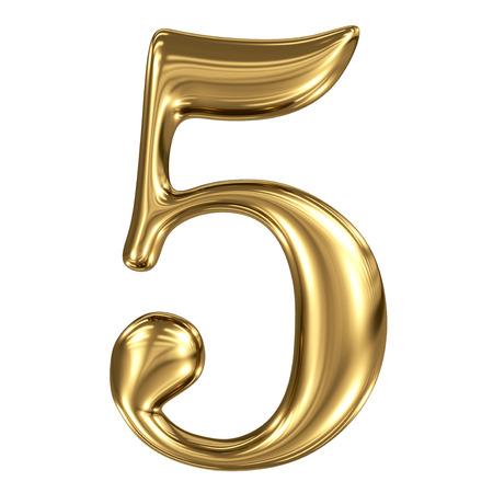 De gouden glanzende metallic 3D symbool figuur 5 op wit wordt geïsoleerd Stockfoto
