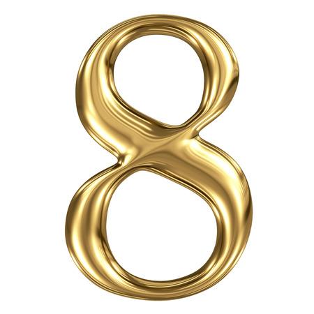 De gouden glanzende metallic 3D-symbool cijfer 8 op wit wordt geïsoleerd