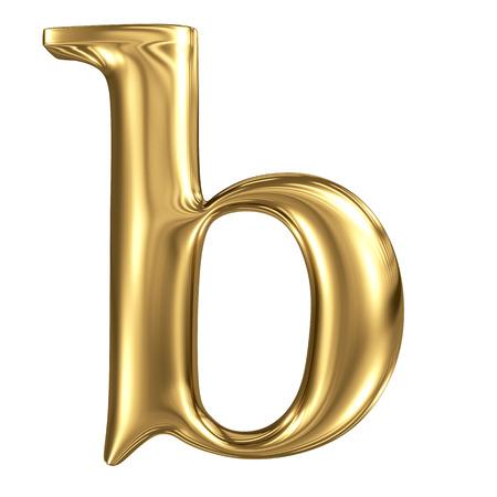 solid figure: Lettera b minuscola oro di alta qualità di rendering 3d isolato su bianco