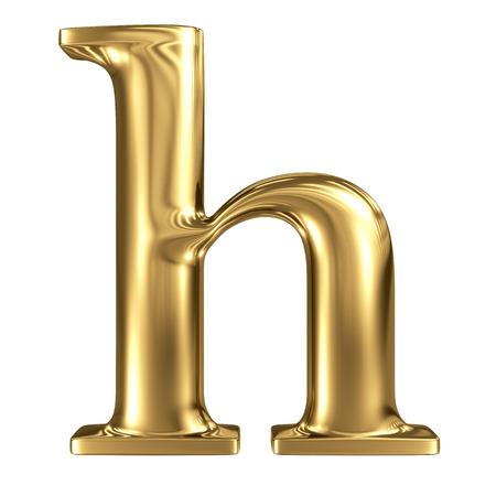 solid figure: Oro lettera h minuscola di alta qualità di rendering 3d isolato su bianco