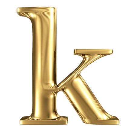 solid figure: Oro lettera k minuscola di alta qualità di rendering 3d isolato su bianco