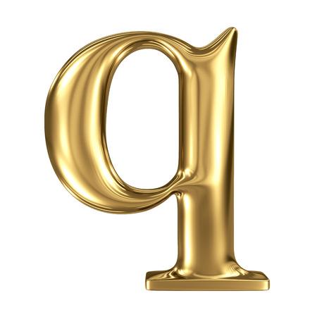 solid figure: Oro lettera q minuscola alta qualità di rendering 3d isolato su bianco