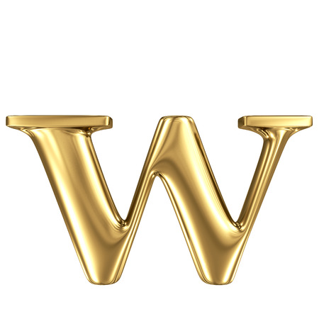 gold letters: Golden letter w lowercase high quality 3d render isolated on white