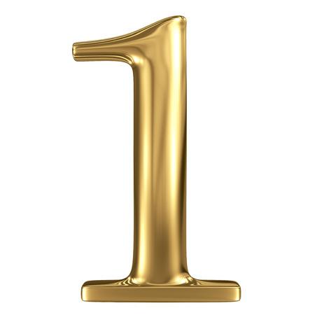 Golden glanzende metallic 3D-symbool figuur 1 geïsoleerd op wit Stockfoto