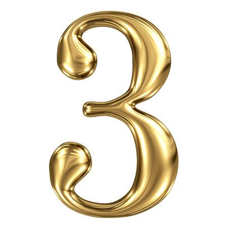 De gouden glanzende metallic 3D symbool figuur 3 op wit wordt geïsoleerd