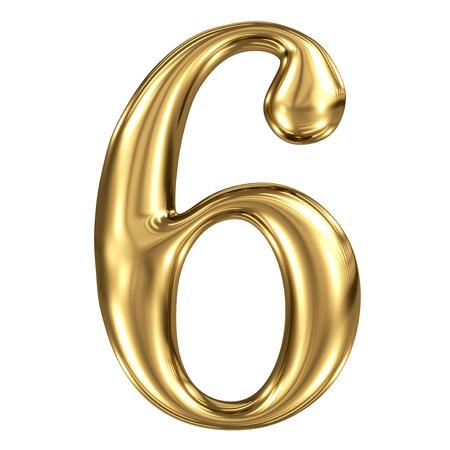 De gouden glanzende metallic 3D-symbool figuur 6 op wit wordt geïsoleerd