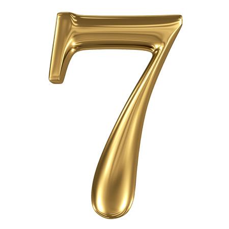 De gouden glanzende metallic 3D-symbool cijfer 7 op wit wordt geïsoleerd