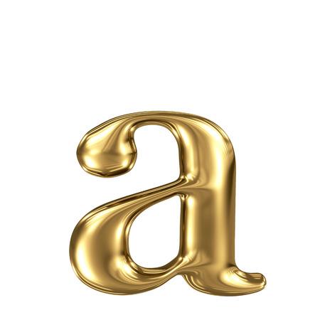 Golden letter a lowercase high quality 3d render isolated on white Standard-Bild