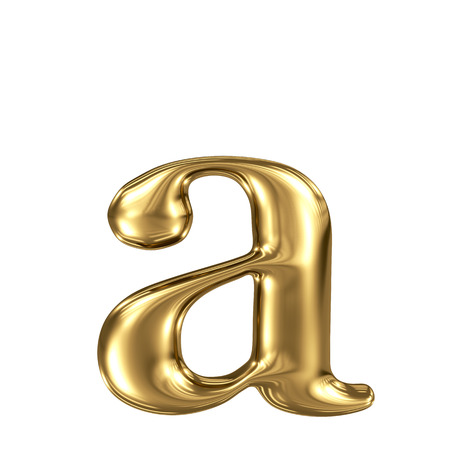Golden letter a lowercase high quality 3d render isolated on white Stock Photo