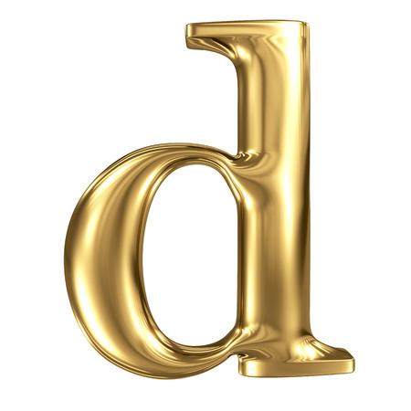 solid figure: Oro lettera d minuscola di alta qualità di rendering 3d isolato su bianco