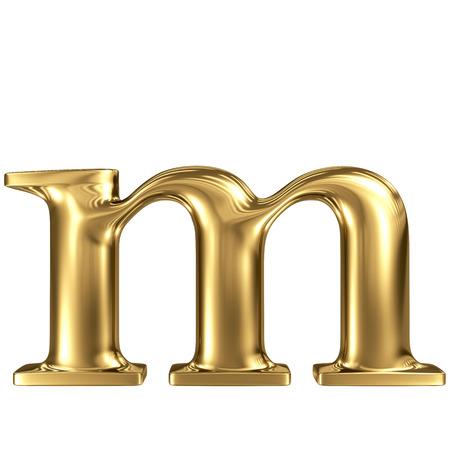solid figure: Oro lettera m minuscola di alta qualità di rendering 3d isolato su bianco Archivio Fotografico