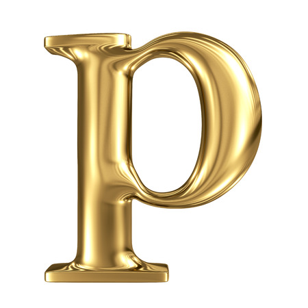 metal letter: Golden letter p lowercase high quality 3d render isolated on white Stock Photo
