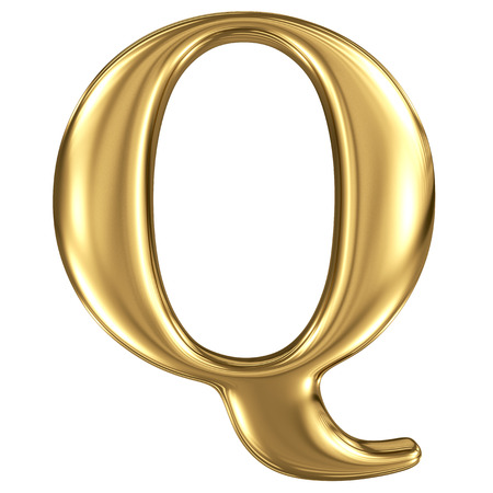 solid figure: Oro lettera di alta qualità di rendering 3d isolato su bianco