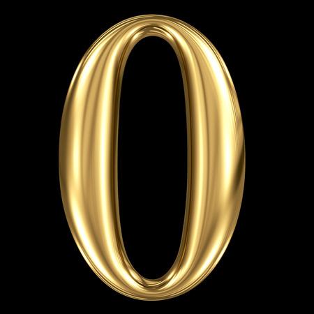 Golden shining metallic 3D symbol number zero 0 isolated on black