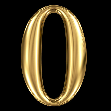 Golden shining metallic 3D symbol number zero 0 isolated on black