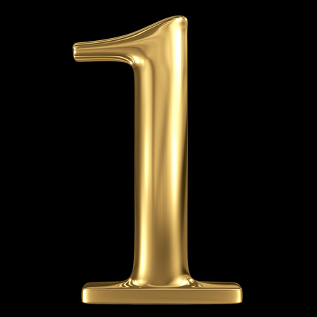 Golden shining metallic 3D symbol number one 1 isolated on black