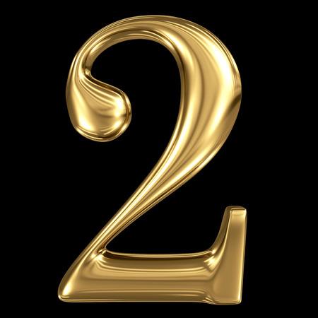 De gouden glanzende metallic 3D-symbool cijfer twee 2 geïsoleerd op zwart