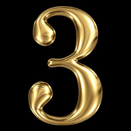 Golden glanzende metallic 3D symbool nummer drie 3 geïsoleerd op zwart Stockfoto