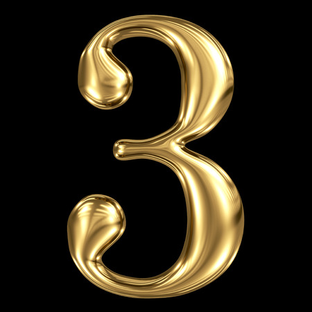 Golden shining metallic 3D symbol number three 3 isolated on black