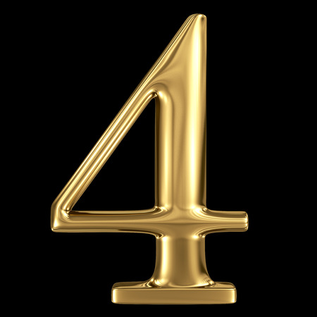 Golden shining metallic 3D symbol number four 4 isolated on black