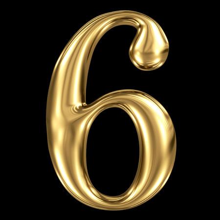 Gouden glanzend metaal 3D symbool nummer zes 6 geïsoleerd op zwarte Stockfoto