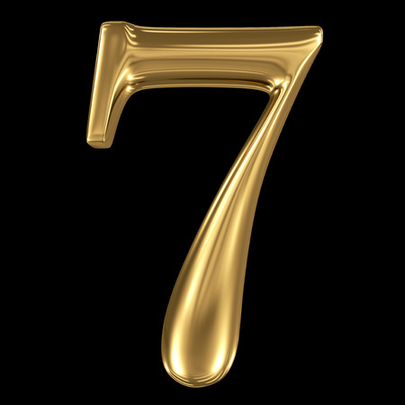 Golden shining metallic 3D symbol number seven 7  isolated on black
