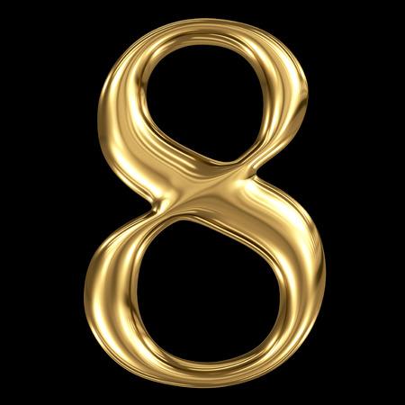 De gouden glanzende metallic 3D-symbool nummer acht 8 geïsoleerd op zwart Stockfoto