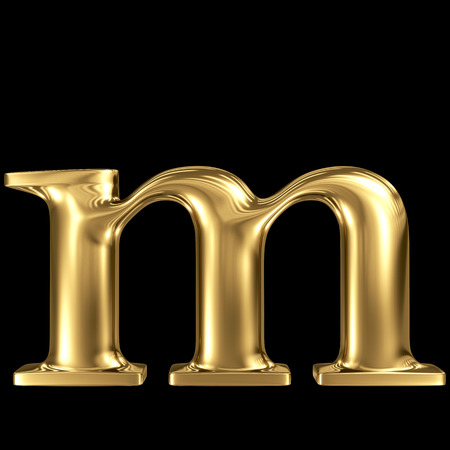 decorative letter: Golden letter m lowercase high quality 3d render isolated on black Stock Photo