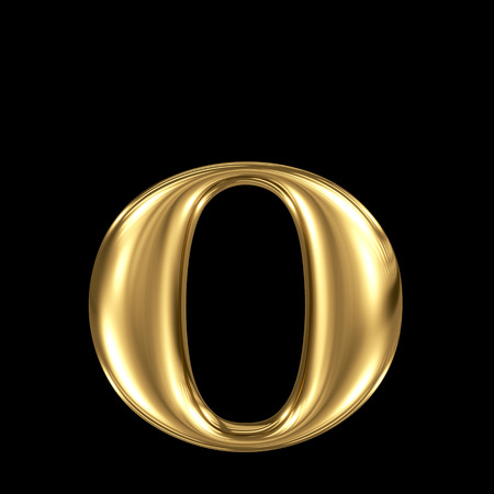 Golden letter o lowercase high quality 3d render isolated on black