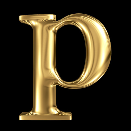 letter p: Golden letter p lowercase high quality 3d render isolated on black