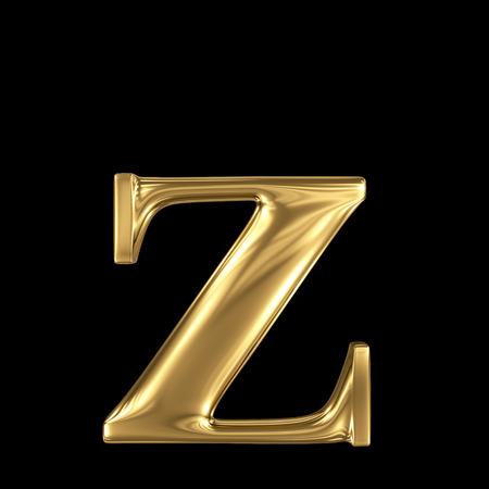 letter z: Golden letter z lowercase high quality 3d render isolated on black