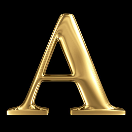 tipos de letras: Mayúsculas aislado en negro - letra A de oro brillante de capital símbolo 3D metálico Foto de archivo