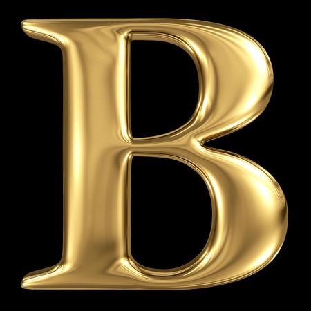 Golden shining metallic 3D symbol capital letter B - uppercase isolated on black