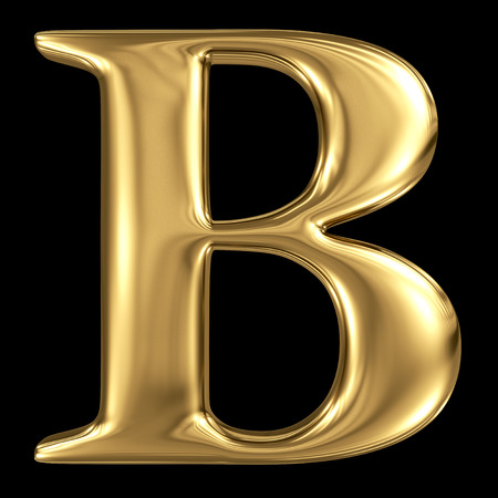 3d letters: Golden shining metallic 3D symbol capital letter B - uppercase isolated on black