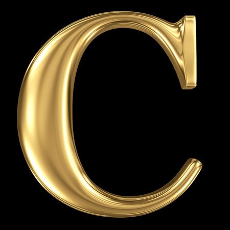 골든 빛나는 금속 3D 기호 대문자 C- 블랙에 절연 대문자