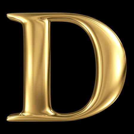 De gouden glanzende metallic 3D-symbool hoofdletter D - hoofdletters geïsoleerd op zwart Stockfoto