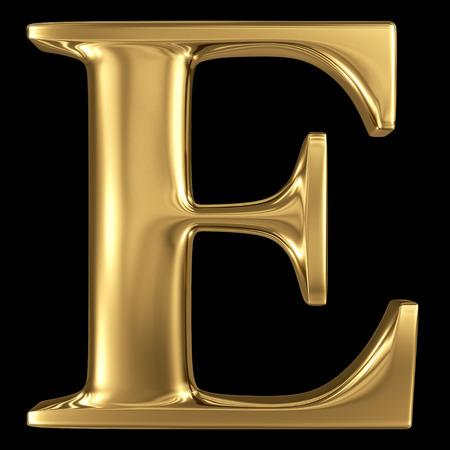 capitel: De oro brillante 3D metálico símbolo letra mayúscula E - mayúsculas aislados en negro Foto de archivo