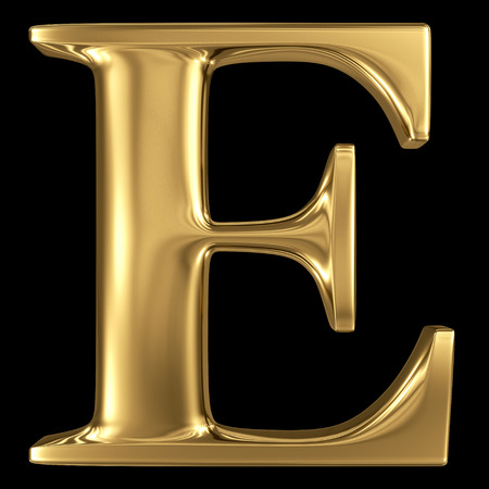 Golden shining metallic 3D symbol capital letter E - uppercase isolated on black Stock Photo