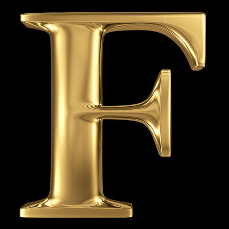 letter f: Golden shining metallic 3D symbol capital letter F - uppercase isolated on black
