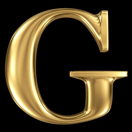 letras doradas: Resplandeciente de oro 3D metálico mayúscula símbolo G - mayúsculas aislados en negro