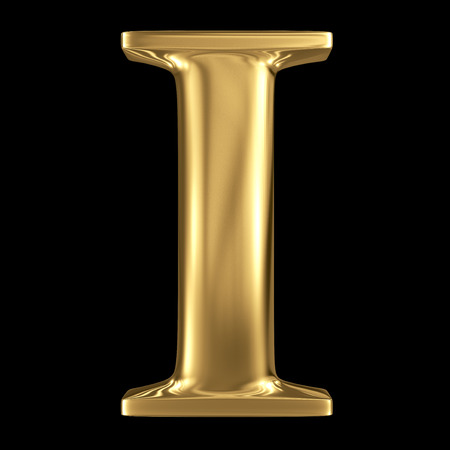 Golden shining metallic 3D symbol capital letter I - uppercase isolated on black Stok Fotoğraf