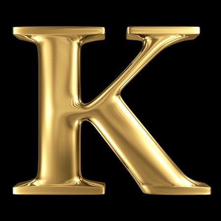 De gouden glanzende metallic 3D-symbool hoofdletter K - hoofdletters geïsoleerd op zwart